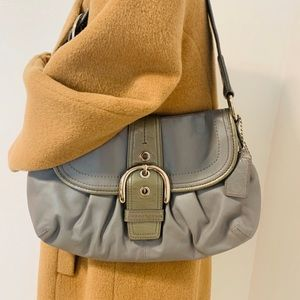 Coach gray leather Small hobo shoulder bag